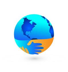 worldwide handshake peaceful agreement icon vector image