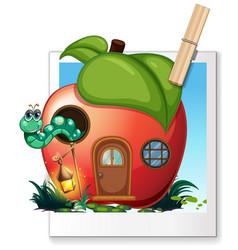 Worm living in apple house vector