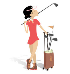 young woman plays golf isolated vector image