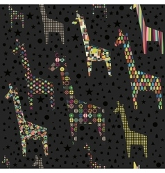 Funny giraffes seamless pattern vector image