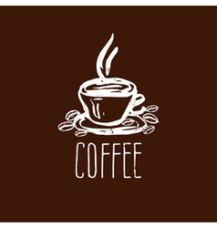Hand drawn logo with coffee cup vector image vector image