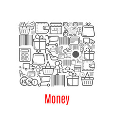 money purse of shopping retail icons vector image vector image
