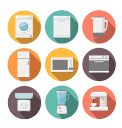Set of household appliances flat icons on colorful vector image vector image
