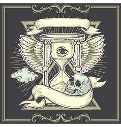 Tattoo-art designwingshourglass skull eye of vector