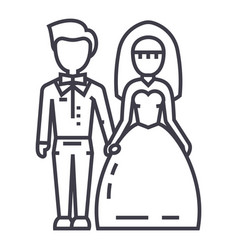 wedding couplebride and groom line icon vector image