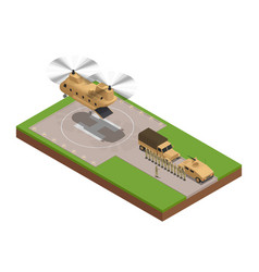 Military base isometric composition vector