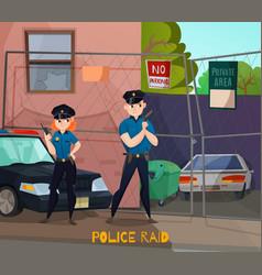 police raid cartoon composition vector image vector image