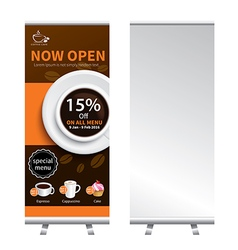 coffee roll up banner stand design vector image
