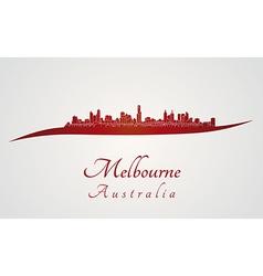 Melbourne skyline in red vector image