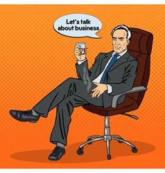 Senior Businessman Drinking Whiskey Pop Art vector image
