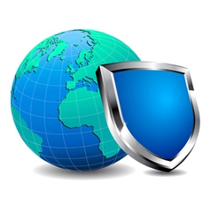 Shield with World vector image vector image