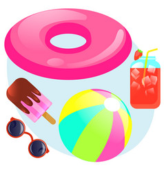 summer set with rubber ring ball sunglasses vector image vector image
