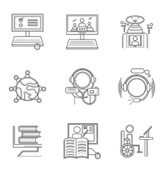 Thin line style distant education icons vector image
