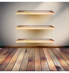Empty three wood shelf on wall EPS 10 vector image