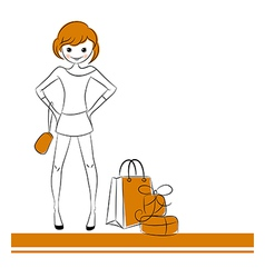 Fashion girl with sale bag vector image vector image