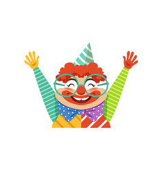 funny circus clown in traditional makeup and vector image vector image