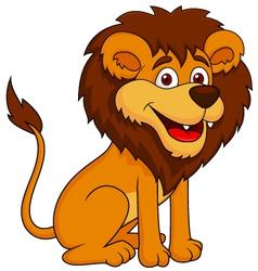 Funny lion cartoon sitting vector image vector image
