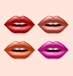 Girl lips with varicolored lipstick set vector image vector image