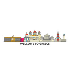 greece outline skyline greek flat thin line icons vector image