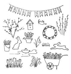 hello spring sketch set first flowers gardening vector image