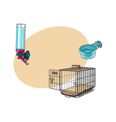 metail wire pet travel carrier feeding bowl and vector image vector image