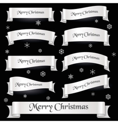 white merry christmas curved ribbon banners eps10 vector image