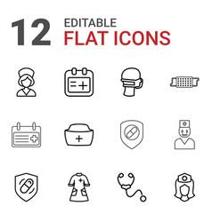 12 nurse icons vector