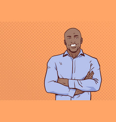 african american businessman folded hands pose vector image