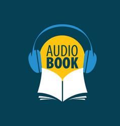 audiobook logo template vector image