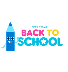 back to school web banner of funny color pencil vector image