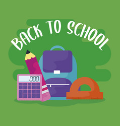 Back to school with bagschool and set supplies vector