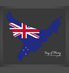 Bay plenty new zealand map with national flag vector