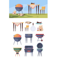 bbq stand picnic grill steak in summer outdoor vector image