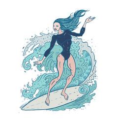 Beautiful woman on surf board vector
