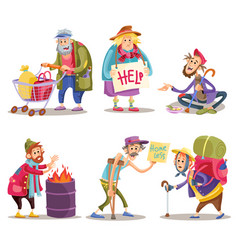 Beggars homeless tramps hobo funny cartoon set vector