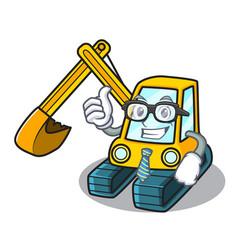 businessman excavator character cartoon style vector image