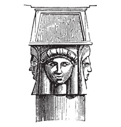 capital in the temple at denderah temple vintage vector image