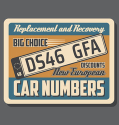 Car license plates for vehicles vector