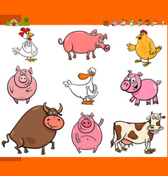 Cartoon farm animal characters collection vector