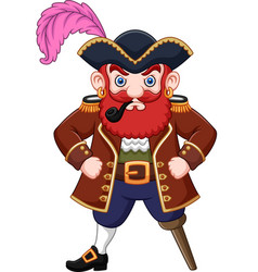 cartoon pirate with a smoking pipe vector image