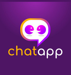 chat messaging app logo design vector image