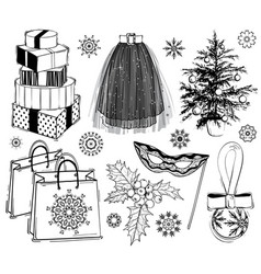 Christmas and new year fashion set vector