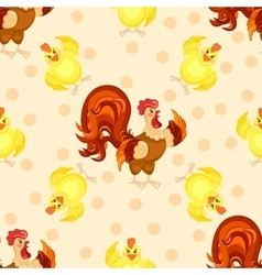 Cock cartoon pattern Funny rooster pattern vector