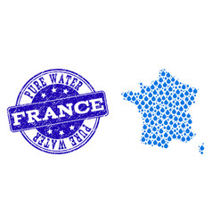collage map of france with water tears and grunge vector image