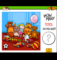 Counting toys educational game for children vector