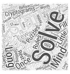 Cryptograms in Mind Puzzles Word Cloud Concept vector image