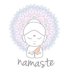 Cute buddha sending greetings vector