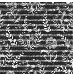 Denim floral seamless pattern gray jeans vector
