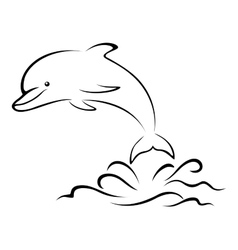 Dolphin and Sea Waves Contour vector image