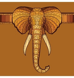 Elephant head with ethnic ornament vector